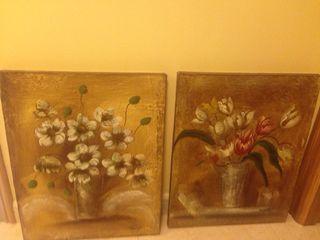 Lote 2 cuadros óleo de flores