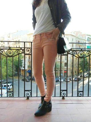 Pantalón vaquero mujer skinny Zara customizado