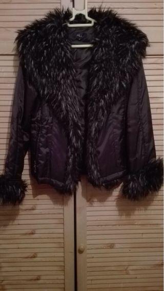Abrigo cazadora marrón oscuro SHE