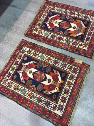 par de alfombra kilim bordado