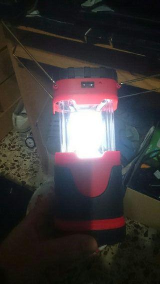 linterna cargador usb y solar