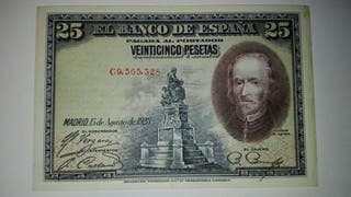 Billete 25 pesetas 15 agosto 1928