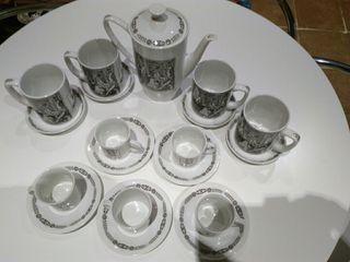 Juego café porcelana Pontesa Monky vintage