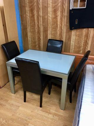 Mesa comedor extensible cristal 4 sillas new york de - Sillas comedor segunda mano barcelona ...