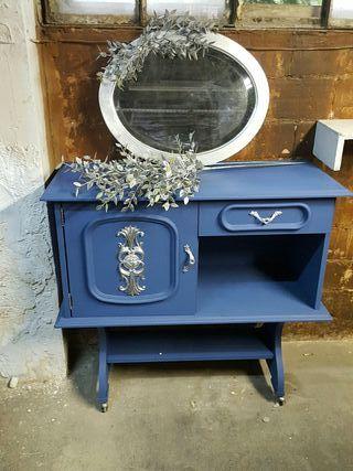 Mueble aparador televisor auxiliar vintage antiguo de for Muebles segunda mano lleida