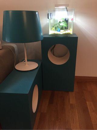 Muebles lampara y pecera