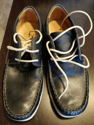 Zapatos hombre Clarks, Navy Leather, azul, de piel