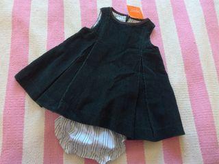Pichi Vestido pana bebé 6 / 9 meses etiqueta Gocco