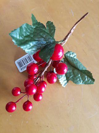 racimo acebo rojo Navidad 17 cm con 18 bolas. art
