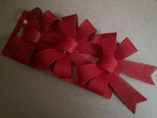 blíster tres lazos rojos de Navidad 13 cm. artícul