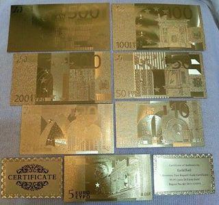 billetes colleccion bañados en oro 24K