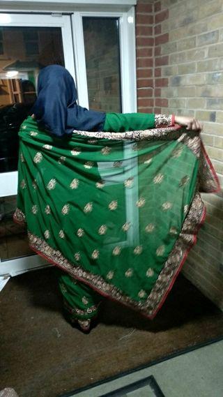 green saree with long sleeve
