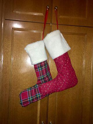 Calcetines/botas Papa Noel hechos a mano.