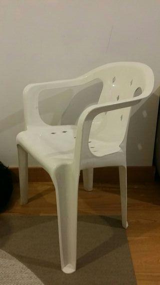 silla terraza blanca pvc (2 unidades)