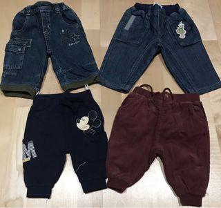4 pantalones bebé 1-3 meses