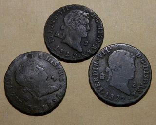 3 monedas de 2 maravedis Fernando VII