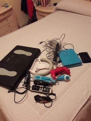 wii azul, disco duro 118 juegos y accesorios