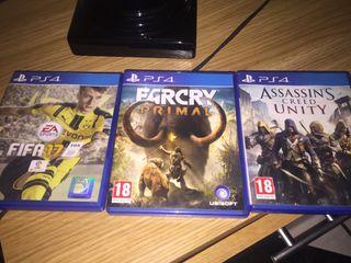 Pack juegos PS4. FIFA, Assassins, Farcry