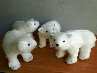 lote 4 osos de Navidad pelo largo escarchado brill