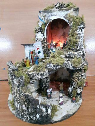 Portal de Belén corcho y madera. con luces