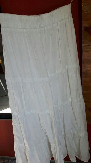 falda larga blanca zara talla 40 elástica