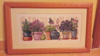 "cuadro punto cruz ""plantas"""