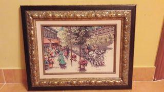 "cuadro punto cruz ""calle victoriana"""