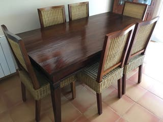 Conjunto Mesa Teka Salón + 6 sillas