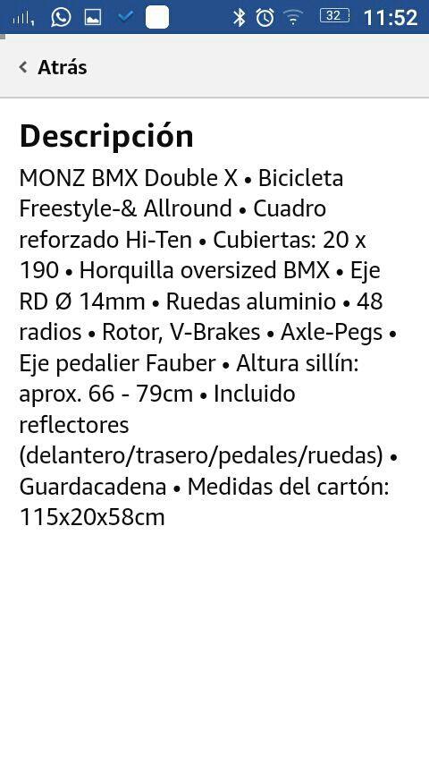 Bicicleta MONZ BMX Double X