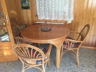 Mesa madera maciza con 6 silla