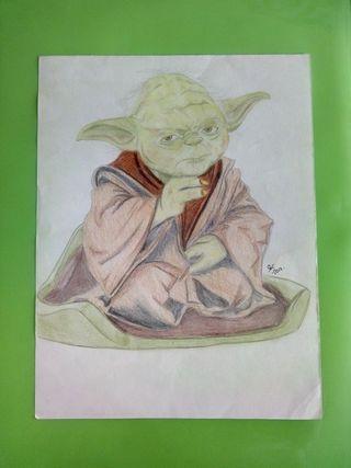 Cuadro Yoda lapiz de color.