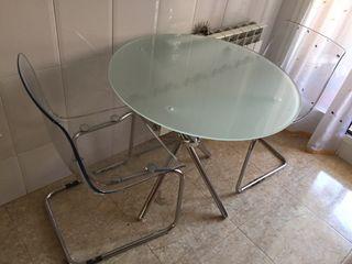 Mesa cristal y 1 silla Tobias