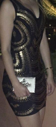 Vestido Bandage Negro con dorado