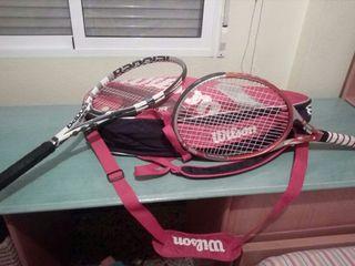 raquetero más dos raquetas