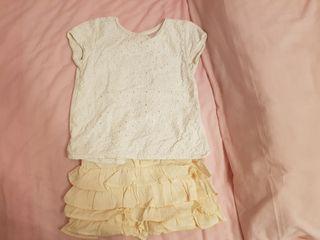 Falda lino rosa y camiseta caladita