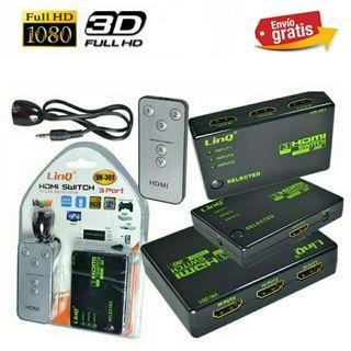 CONMUTADOR HDMI FULL HD 1080P,3D NUEVO.