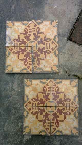 8 piezas de azulejo hidraulico antiguo