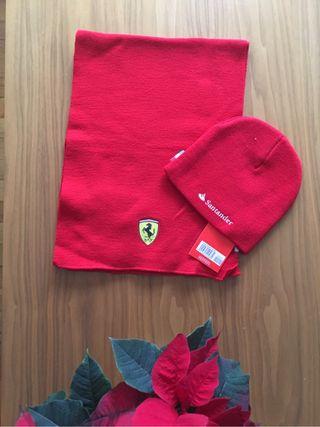 Bufanda y gorro Ferrari