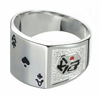 Anillo DE PLATA as poker y dados
