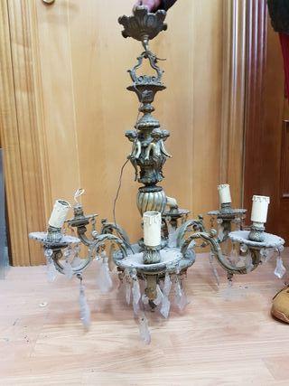 lampara de bronce macizo antigua