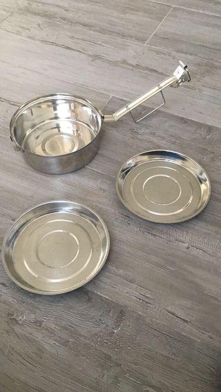 Fiambreras aluminio de 16 cm de diámetro.