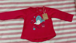 Camiseta bebé manga larga. Roja
