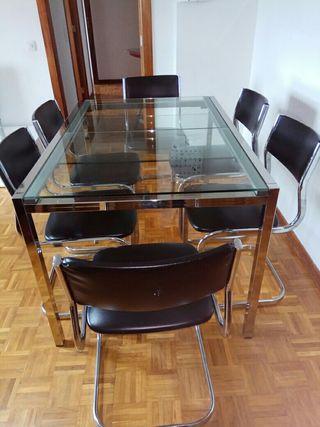 Mesa extensible de cristal y 6 sillas