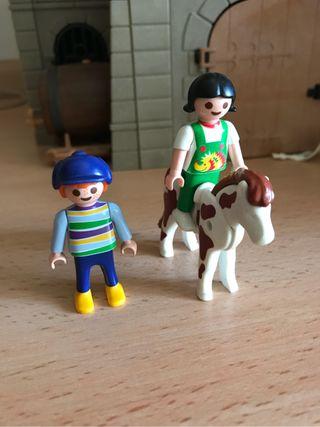 Playmobil lote niños con caballo
