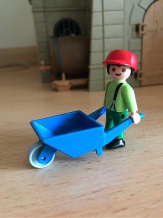 Playmobil niño con carro de mano de juguete