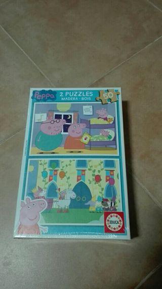 2 puzzles de madera de Peppa Pig