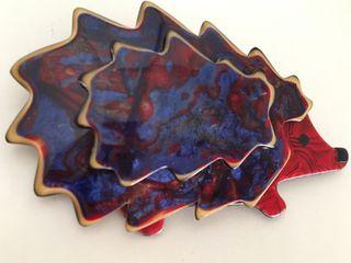 Broche Lea Stein porcupine erizo azul