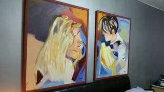 pareja de cuadros al óleo