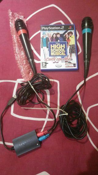 Micrófonos play 2 singstar + higt school musical