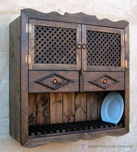 Platero de madera puertas de celosia 2 cajones de segunda mano por 120 en barcial del barco - Wallapop muebles antiguos ...